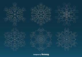 Weiße dünne Schneeflocken vektor