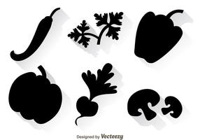 Gemüse-schwarze Ikonen vektor