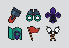 Vektor pojke scouts ikonen uppsättning