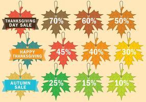 Tacksägelseförsäljning etiketter vektor