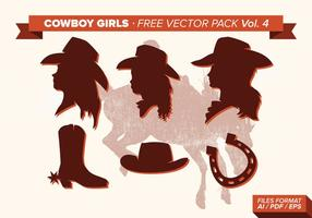 Cowboy Mädchen Silhouette Free Vector Pack Vol. 4