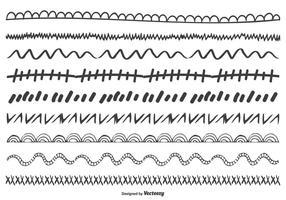 Gullig Handdragen Doodle Border Set vektor