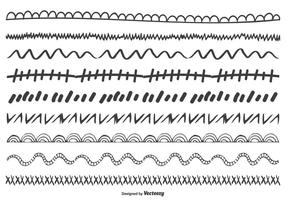 Nettes Handgezeichnetes Gekritzel-Rand-Set vektor