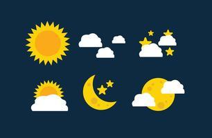Sol och mån ikoner vektor