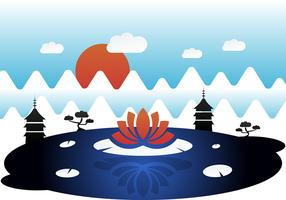 Asiatisk Mystisk Vektor Landskap
