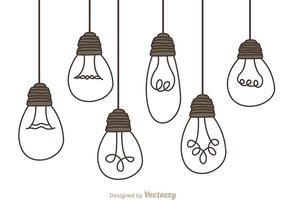Hängande glödlampor vektor