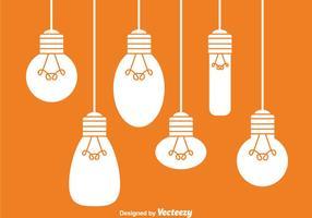 Hängande vita glödlampor vektor