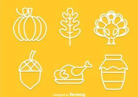 Thanksgiving Outline Ikoner vektor