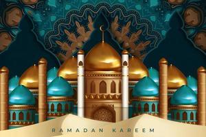 Ramadan Kareem Gruß mit Moschee und kunstvollem Design vektor