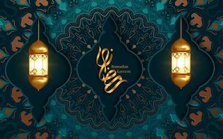 Ramadan Kareem Gruß mit zwei hängenden Laternen vektor