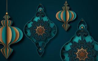 islamischer Papierschnitt-Grußkartenentwurf für Ramadan vektor