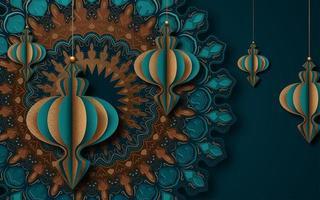 islamischer Grußkartenentwurf für Ramadan mit Laternen vektor