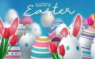 bunter fröhlicher Ostergruß mit bunten Eiern