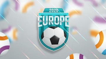 färgrik fotboll fotboll europa mästerskap 2020 affisch vektor