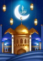 ramadan hälsning design på blått med moskén och månen vektor