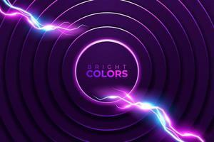 abstrakter rosa Neonkreis und Blitzhintergrund vektor