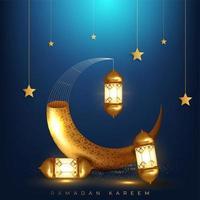 Ramadan Kareem Gruß mit goldenem Horn und Laternen