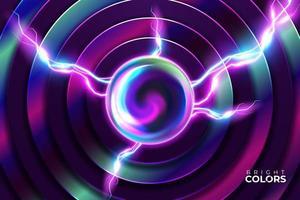 abstrakte neonpinke und türkis leuchtende überlappende Kreise vektor