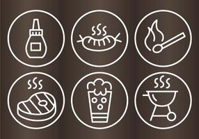 Bbq grill skizze icons vektor