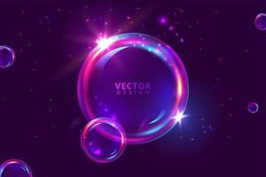glödande lila bubbla bakgrund vektor