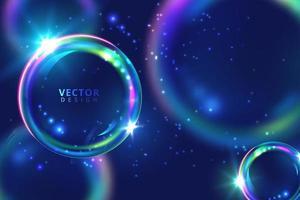 levande neonblå lila flytande bubblor vektor