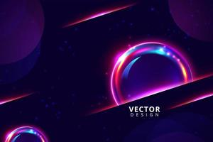 mörk bakgrund med blanka neonrosa bubblor vektor