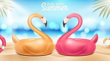 hej sommar design med flamingos vektor