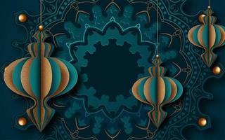 utsmyckade islamiska gratulationskortdesign för ramadan vektor
