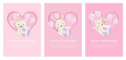 Set alles Gute zum Geburtstagskarten vektor