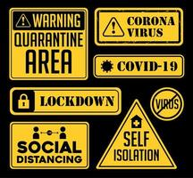 Covid-19 Coronavirus Ausbruch Warnzeichen. vektor