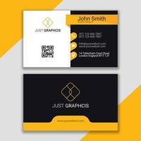 gelbe Visitenkarte des Unternehmens.