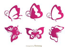 Fjäril lila ikoner vektor