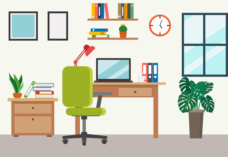 Flaches Home Office Im Cartoon Stil Download Kostenlos Vector Clipart Graphics Vektorgrafiken Und Design Vorlagen
