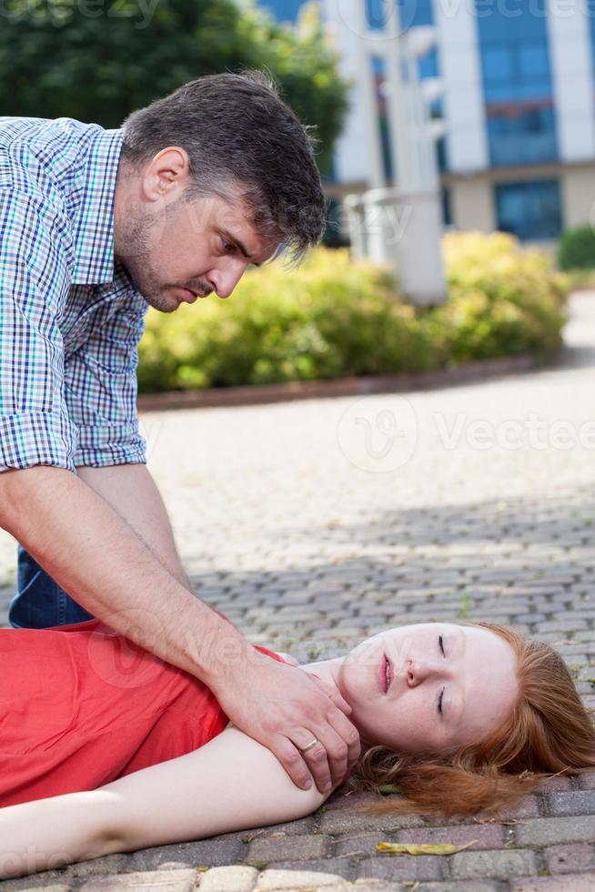 homme, portion, inconscient, femme photo