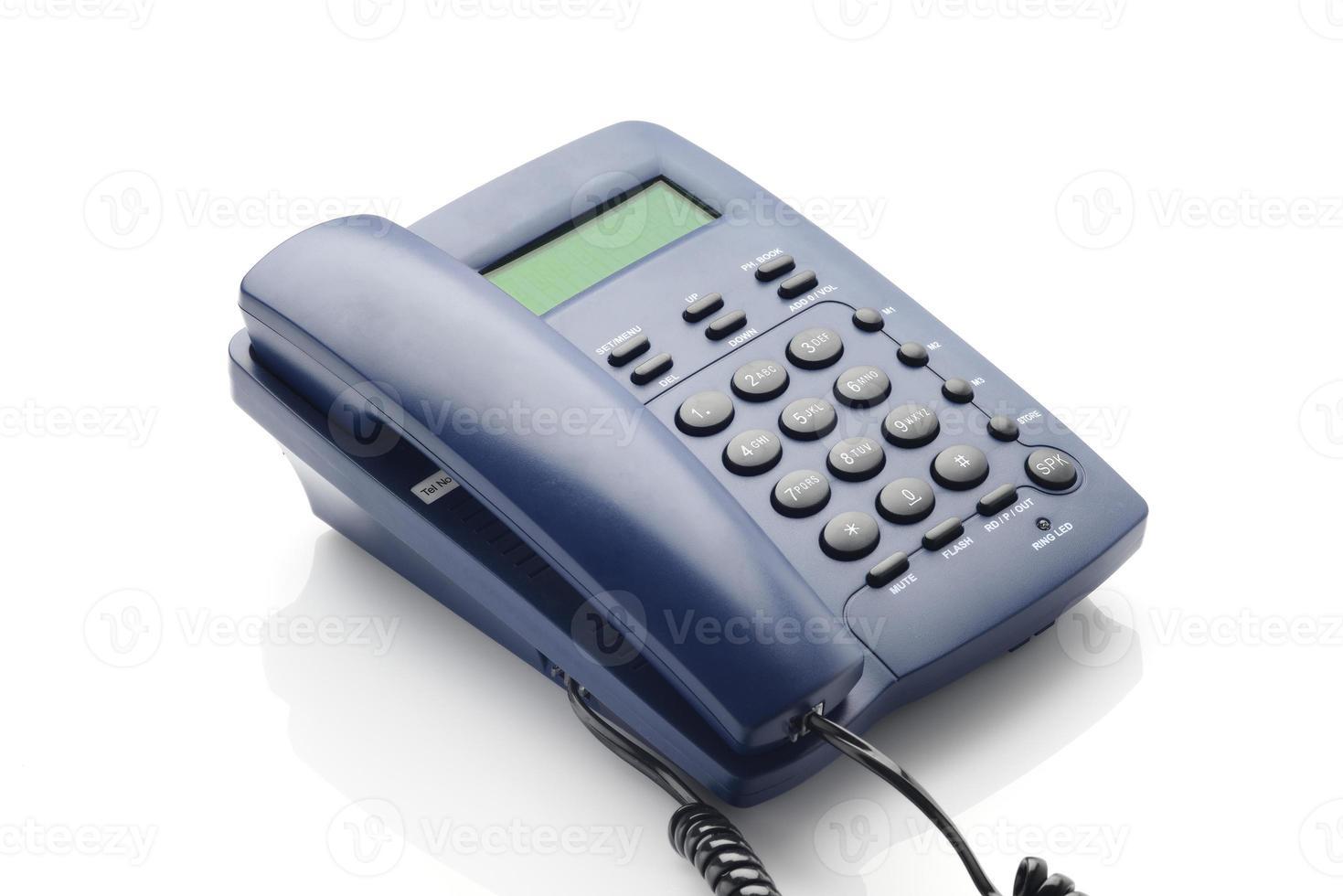 téléphone moderne avec panneau lcd de couleur bleue. photo