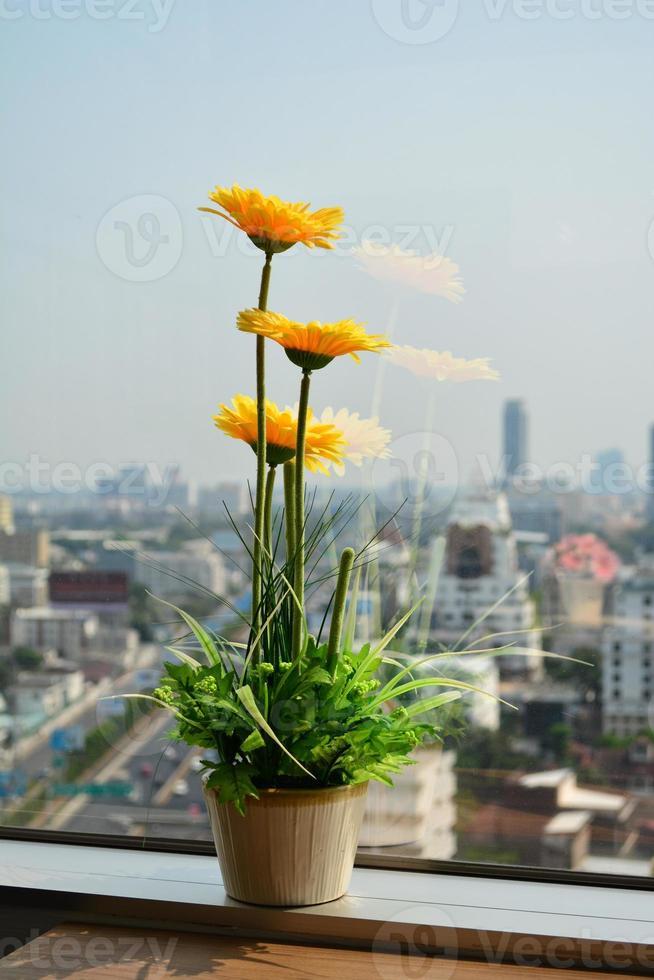 fleur, près, fenêtre, immeuble bureau photo