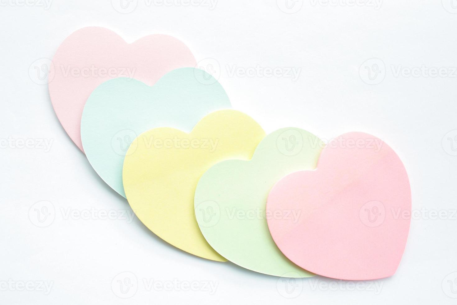 notes collantes en forme de coeur photo