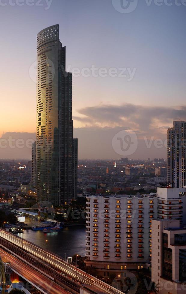 coucher de soleil à bkk du haut photo