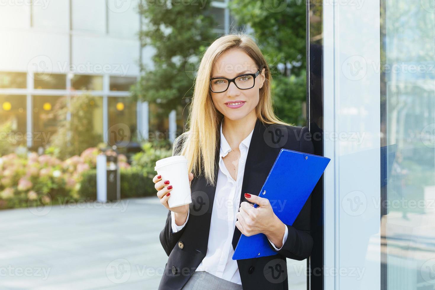 femme affaires, avoir, pause café photo
