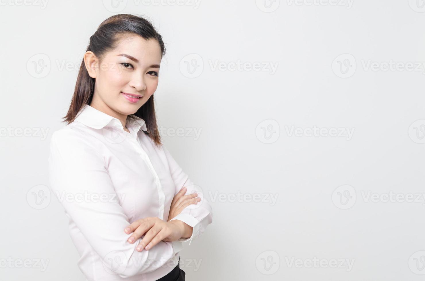 portrait, de, sourire, femme affaires, isolé, blanc, fond photo