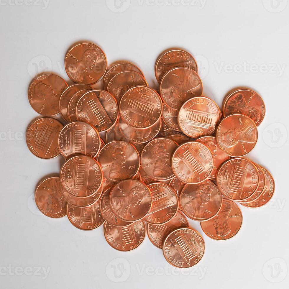 pièces d'un dollar 1 cent photo