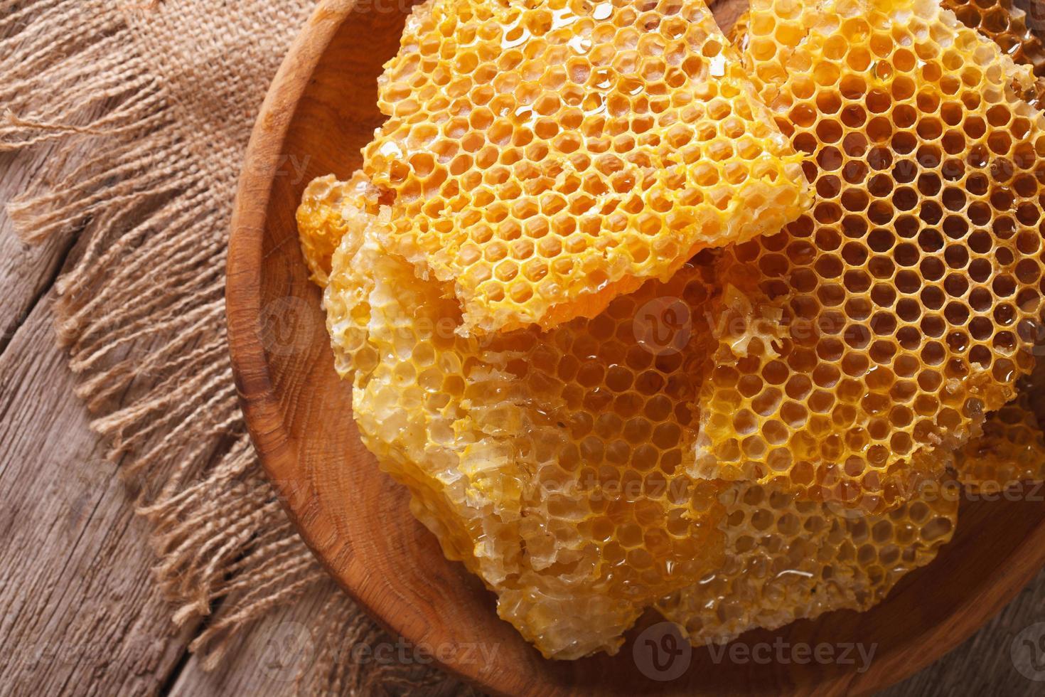 nid d'abeille dans le gros plan de plaque en bois. vue de dessus horizontale photo