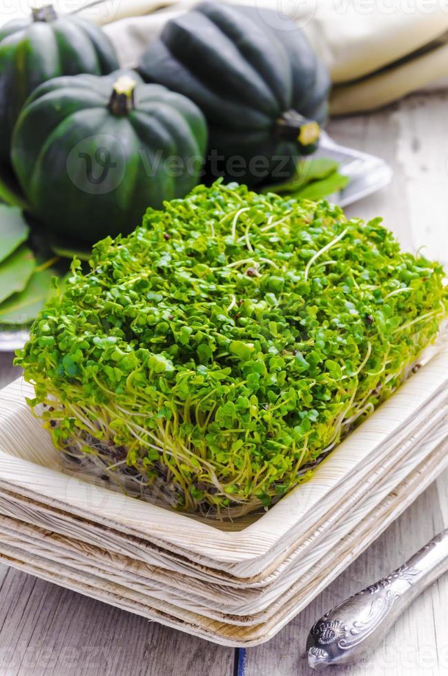 pousses de brocoli dans l'assiette écologique en bambou photo
