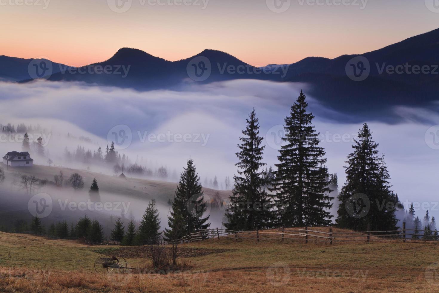 vue des montagnes de brouillard brumeux en automne, photo