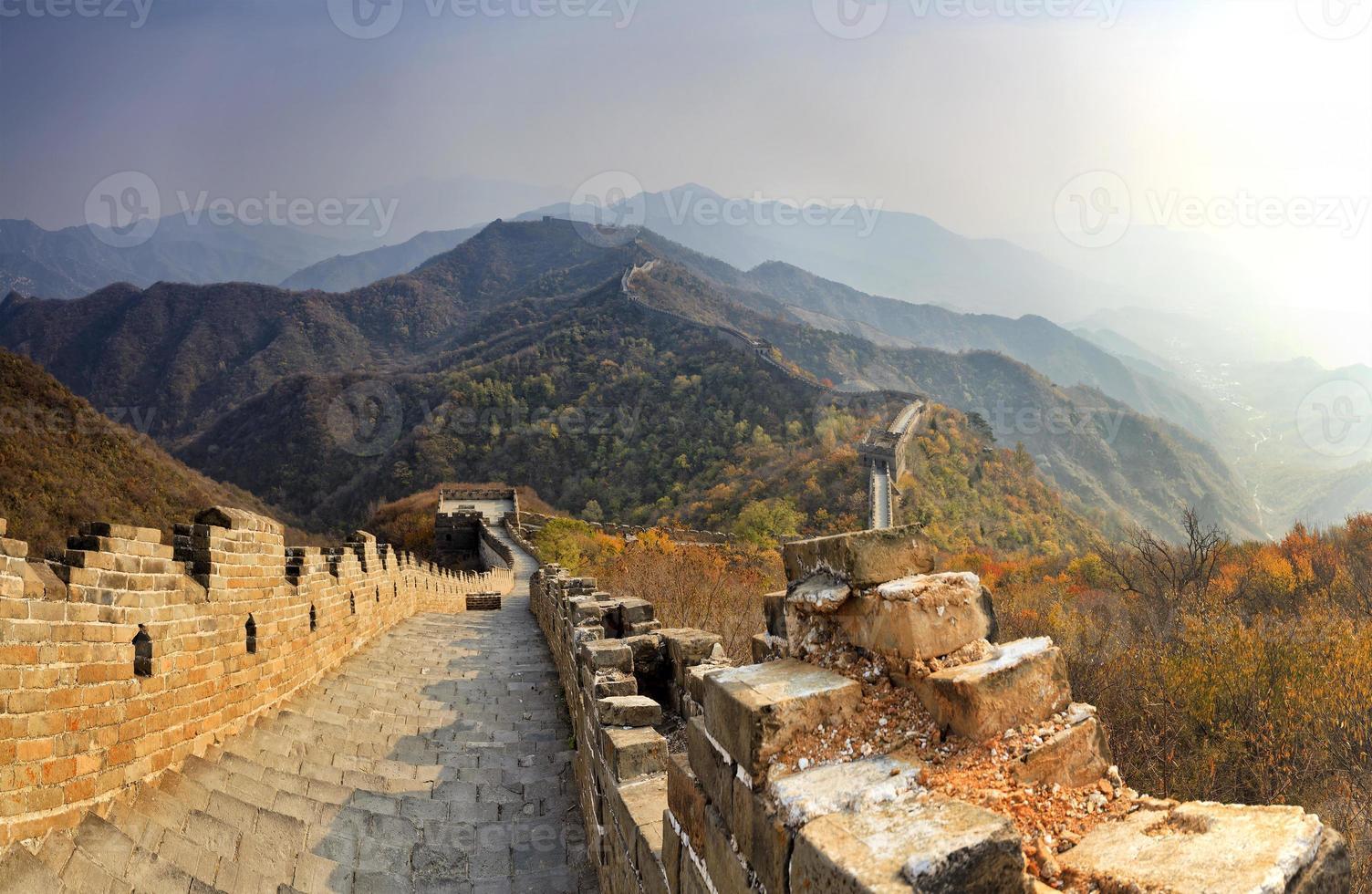 chine grande muraille en bas lointain photo