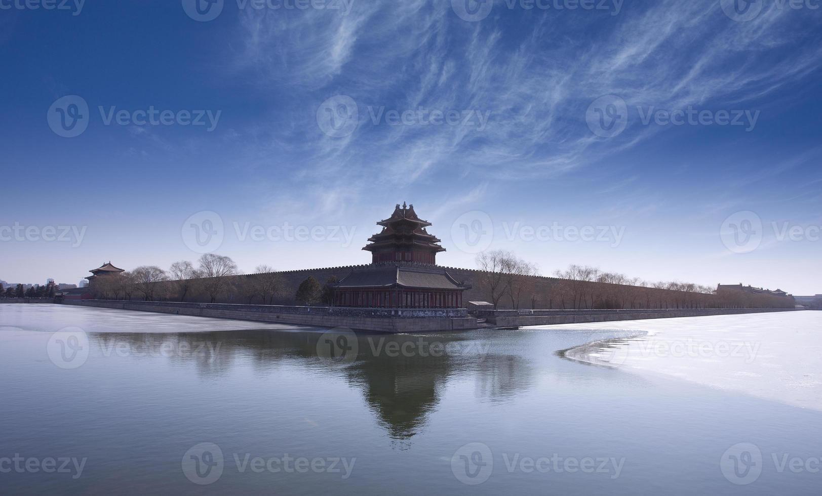 tourelle d'angle de la cité interdite, monument de la ville de beijing photo