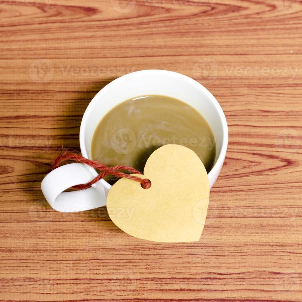 tasse à café avec étiquette coeur photo