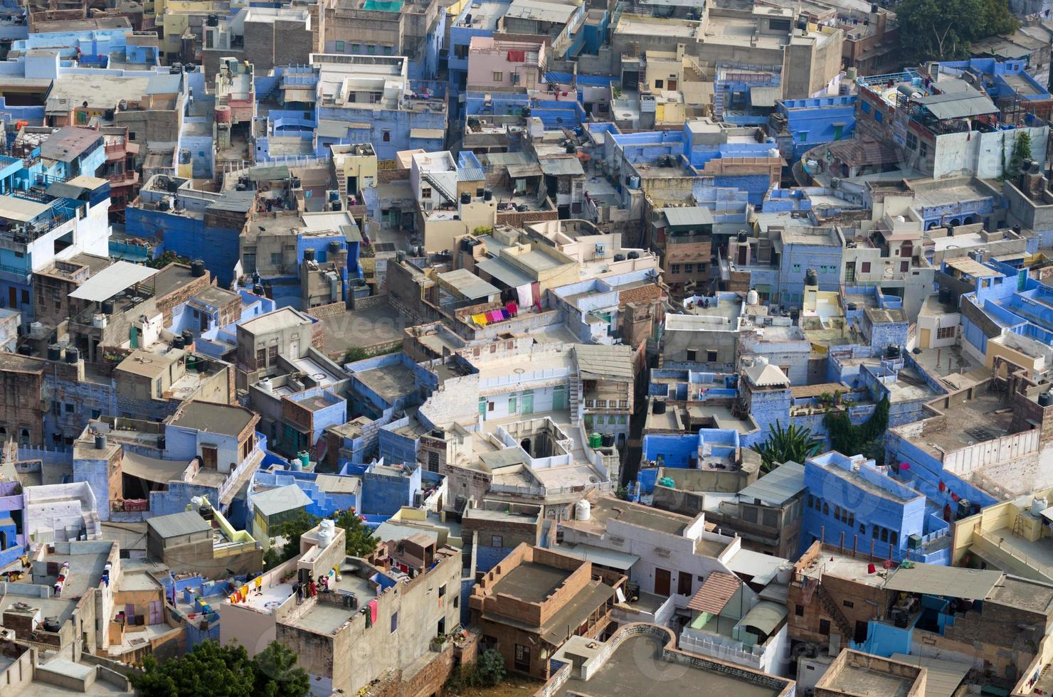 vue de jodhpur, la ville bleue, du fort mehrangarh photo