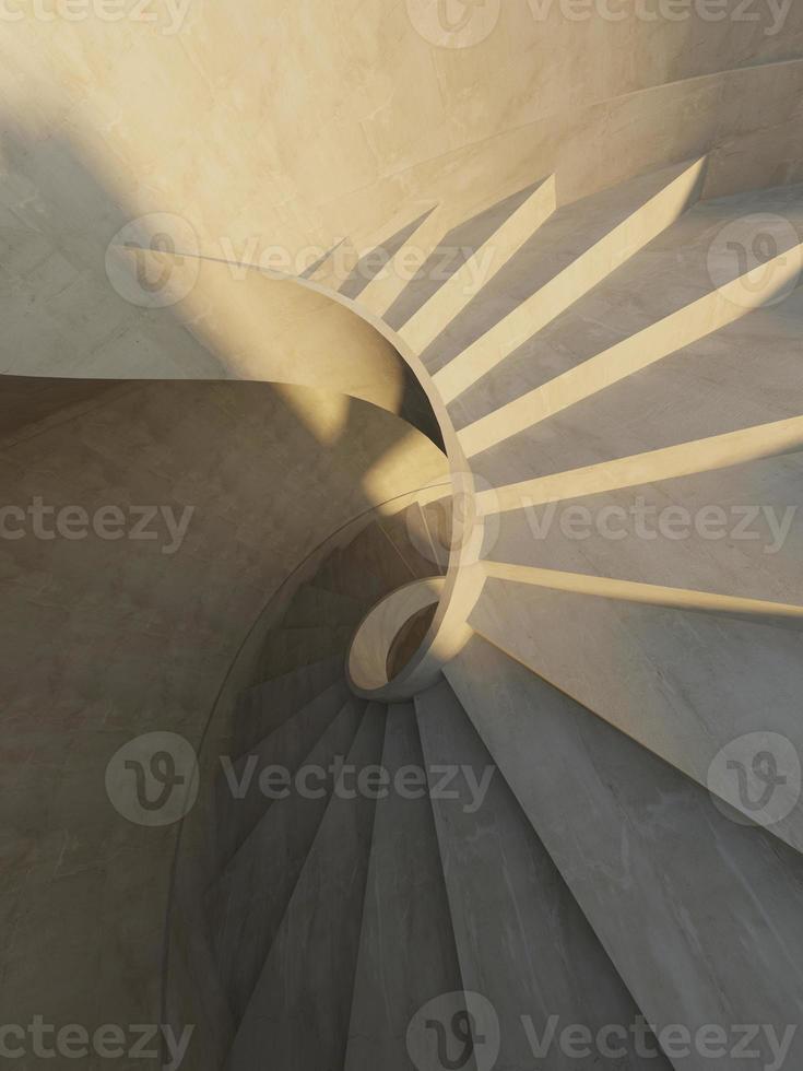 intérieur abstrait avec escalier en colimaçon photo