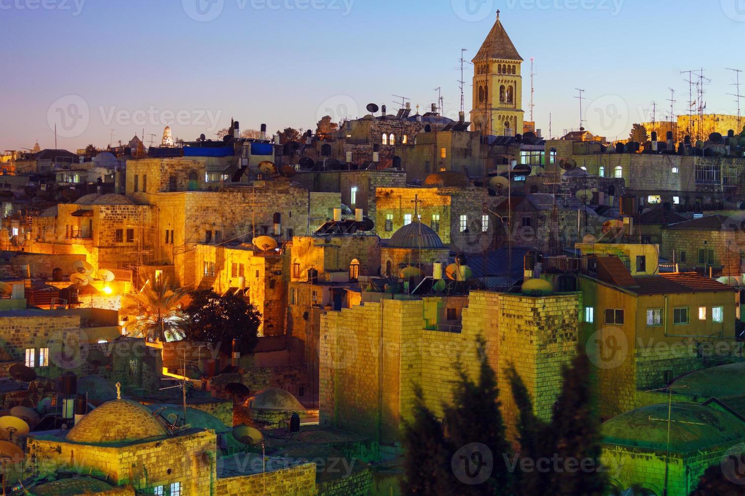 Jérusalem la vieille ville de nuit, Israël photo